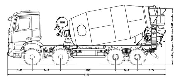 Mercedes Arocs 8x4 Concrete Mixer