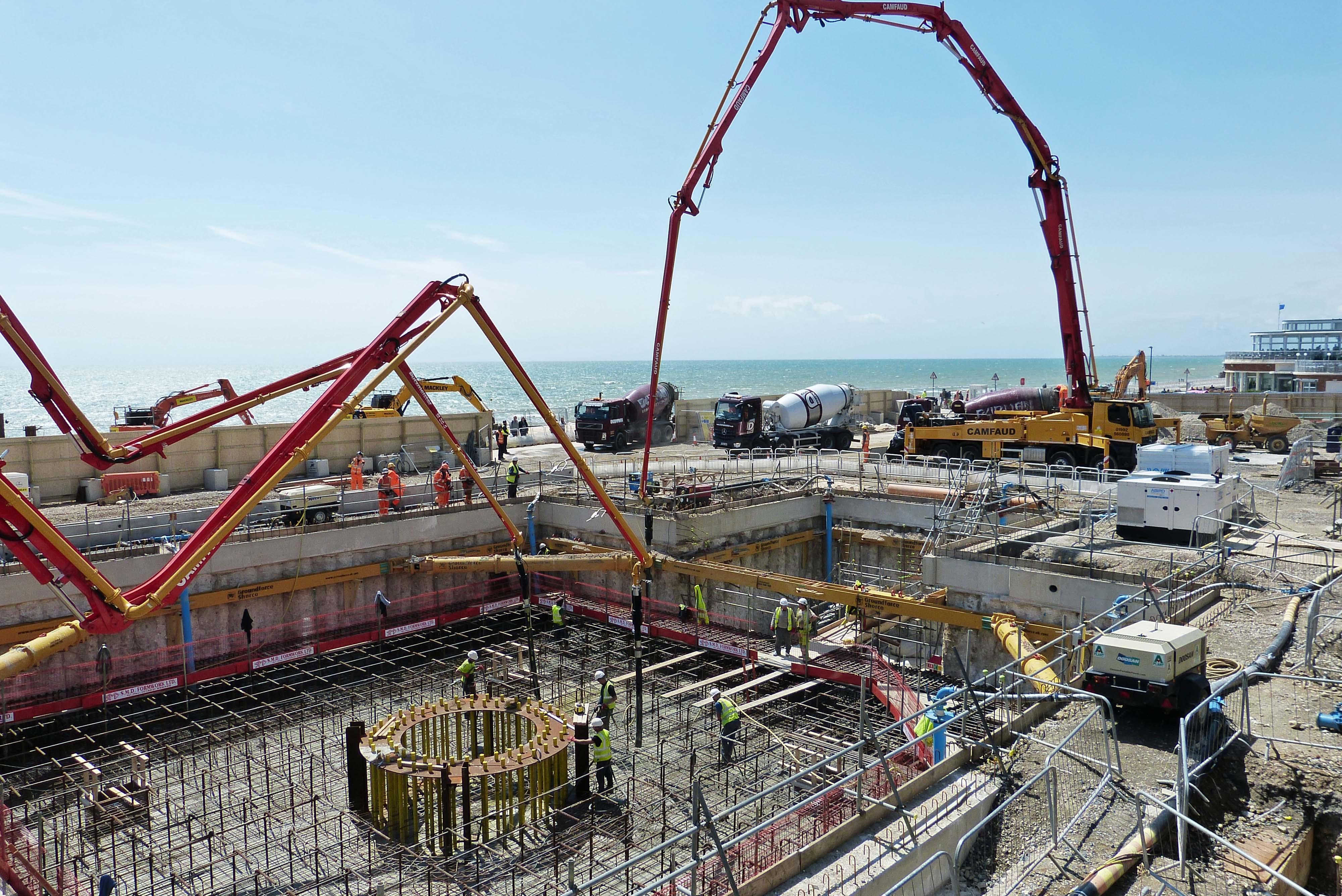 Concrete mixers on Brighton seafront
